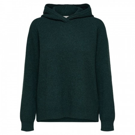 Selected Femme - Slfkenna Ls Knit Hoodie W - Scarab Mel.