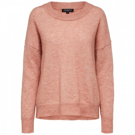 Selected Femme - Slflivana Ls Knit O-neck - Cafe Creme Melange