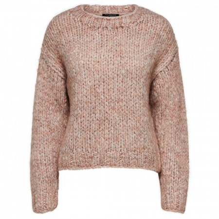 Selected Femme - Slfhai Ls Knit Crop O-neck - Cafe Creme Mel.