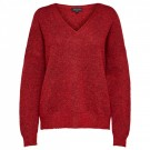 Selected Femme - Slflivana Ls Knit V-neck - True Red Melange thumbnail