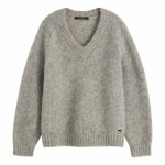 Maison Scotch - Chunky And Soft V-Neck Knit - Grey