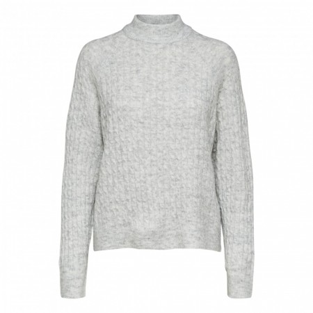 Selected Femme - Slfkuma Ls Knit Highneck - White mel.
