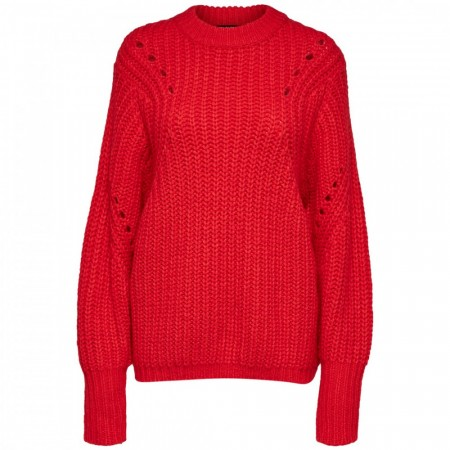 Selected Femme - Slfginna Ls Knit O-neck - True Red
