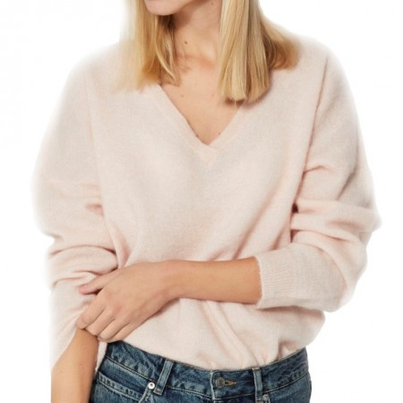 Selected Femme - Slflivana Ls Knit V-neck - Sepia Rose Melange