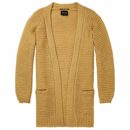 Maison Scotch - Longer Length Fluffy Cardigan - Mustard
