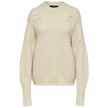 Selected Femme - Slfginna LS Knit O-Neck - Birch