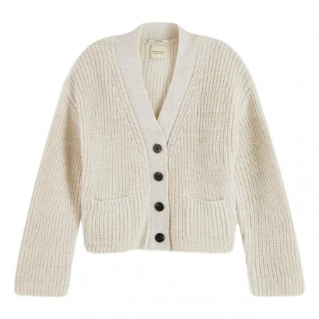 Maison Scotch - Soft Cardigan Rib Knit - White Mel.