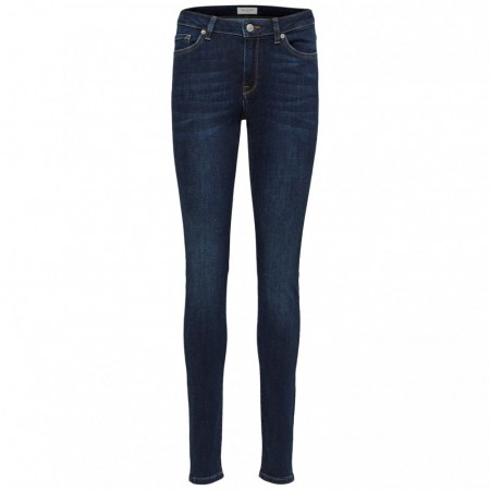 Selected Femme - Slfida Mw Skinny Dark Blue Jeans - Dark Blue Denim