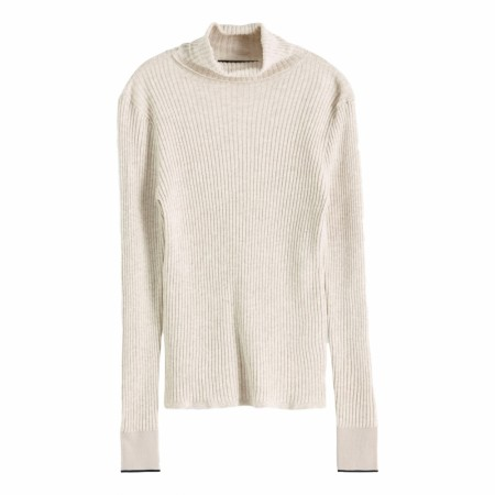 Maison Scotch - Fine Rib Knitted Turtle Neck - Beige