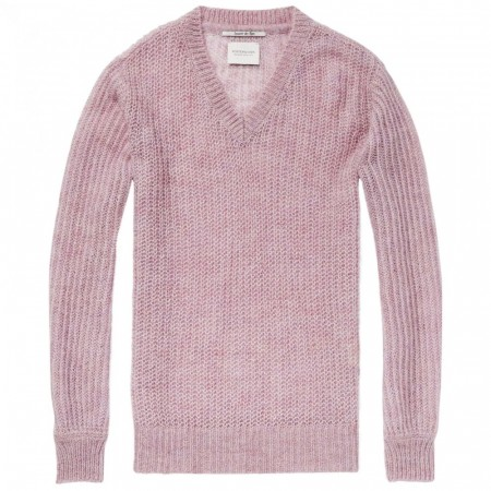 Maison Scotch - Fluffy V-Neck Knit - Lilac Melange