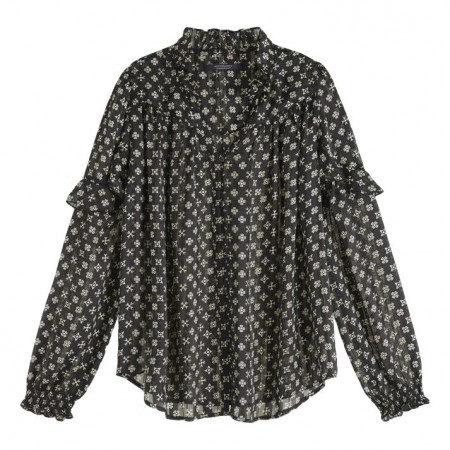 Maison Scotch - Sheer Ruffle Top With Allover Prints