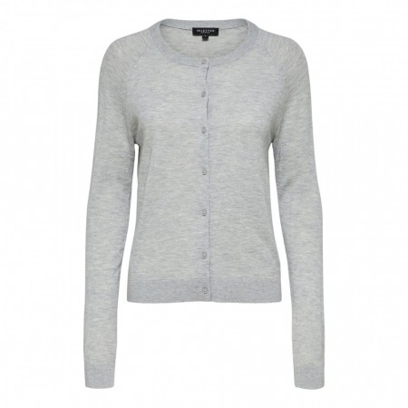 Selected Femme - Slf Costa Ls Knit  Cardigan - Light Grey Melange