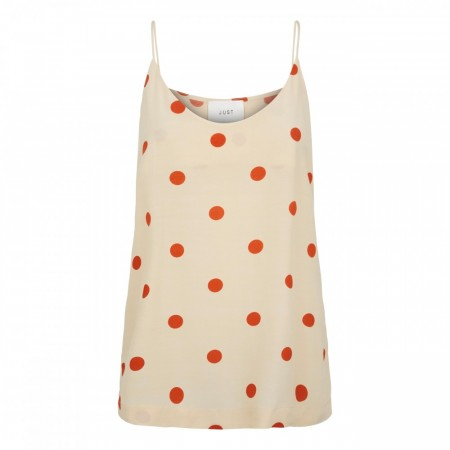 Just Female - Adelia Singlet - Birch Polka Dot aop