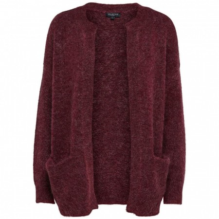 Selected Femme - Slfkaila Ls Knit Short Cardigan - Beet Red