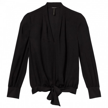 Maison Scotch - Draped V-neck Top - Black