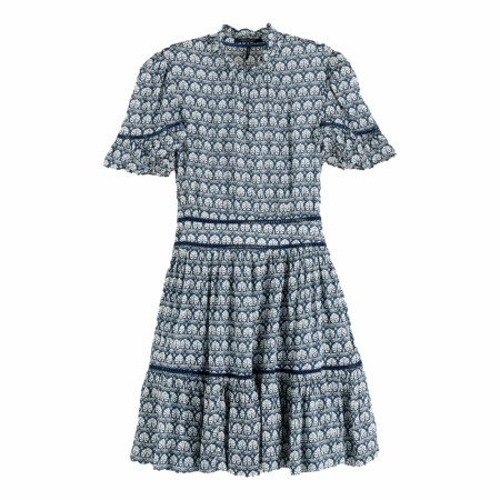 Maison Scotch - Printed Dress With Ladder Lace - Blå