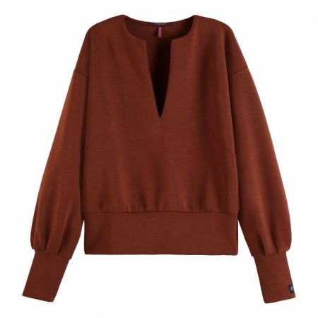 Maison Scotch - Soft Sweat With Open Neck - Brick