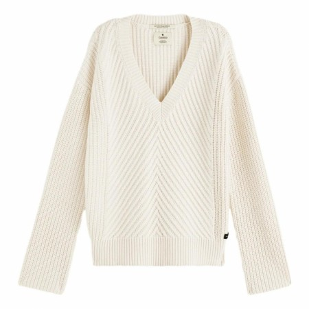 Maison Scotch - V-neck Chunky Rib Knit - Off-White