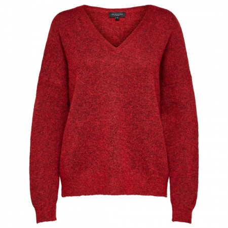 Selected Femme - Slflivana Ls Knit V-neck - True Red Melange
