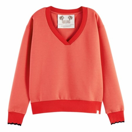 Maison Scotch - V-Neck Sweat With Scalloped Ribs - Red