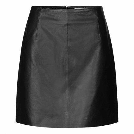 JUST - Moon Leather Skirt - Sort