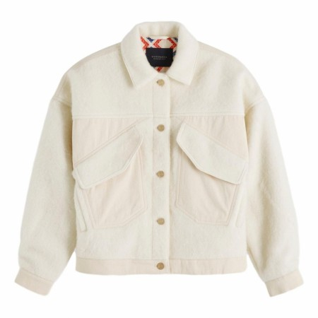 Maison Scotch - Wool Mix Oversized Trucker Jacket - Off-White