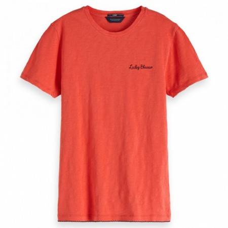 Maison Scotch - Basic Tee Small Embroidery - Rød