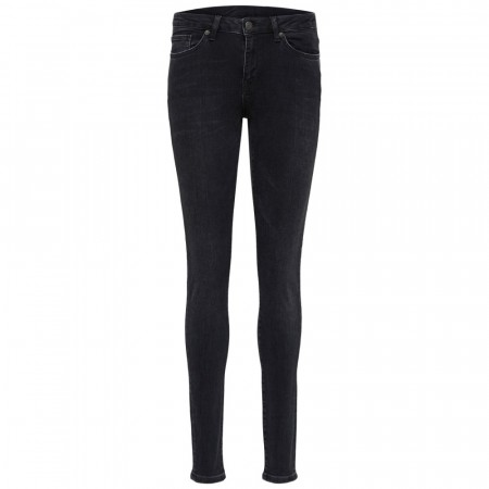 Selected Femme - Slfida Mw Skinny Black Wash Jeans - Black Denim
