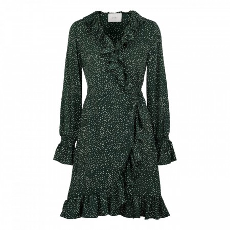Just Female - Image Wrap Dress - Green Dot