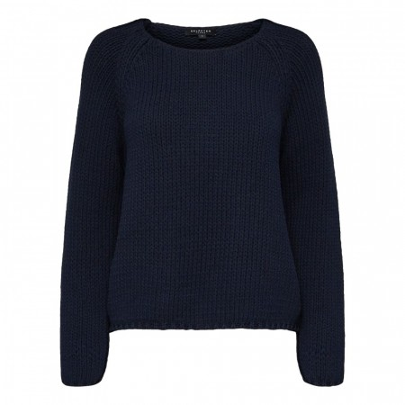 Selected Femme - Slfolga Ls Knit Wide O-neck  Dark Sapphire
