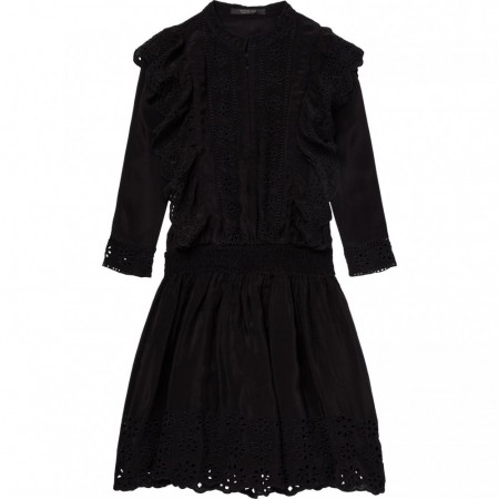 Maison Scotch - Broderie and Ruffle Dress - Black