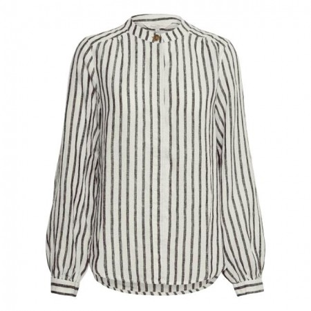 Part Two - Berethe  Bl - Linen Stripe Black