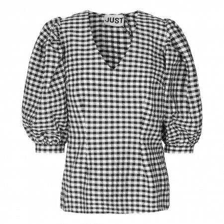 JUST - Lagos Blouse - Mono Mini Check