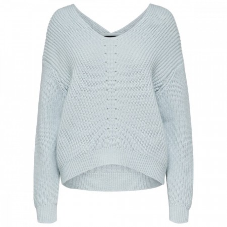 Selected Femme - Slfrose Ls Knit V-Neck - Turkis
