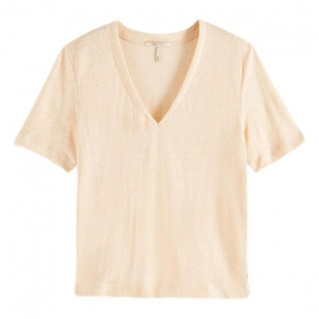 Maison Scotch - Classic Linen Tee - Peach