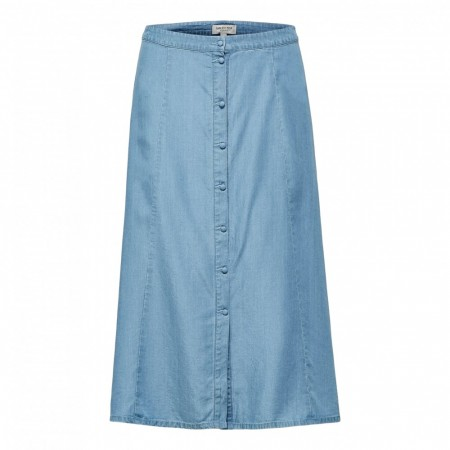 Selected Femme - Slfnoma Hw Midi Skirt W - Light Blue Denim