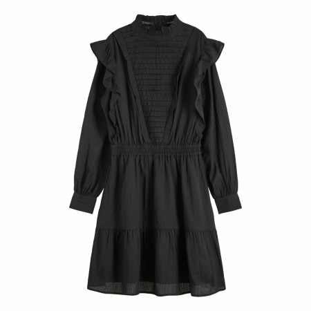 Maison Scotch - Dress With Ruffles And Ladder Details - Black