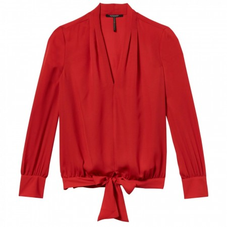 Maison Scotch - Draped V-neck Top - Red