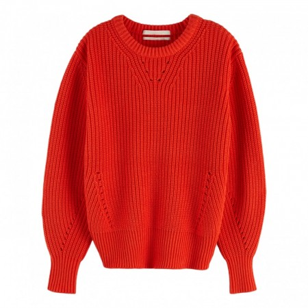 Maison Scotch - Chunky Cotton Pullover -Rød