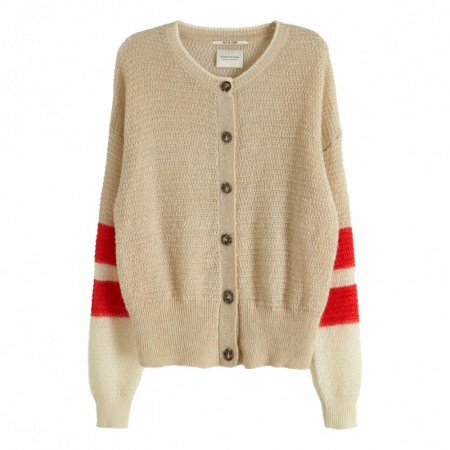 Maison Scotch - Cardigan With Color Blocked Sleeeves - Beige