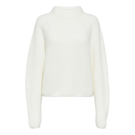 Selected Femme - Slfbandani Ls Knit Highneck - Snow White