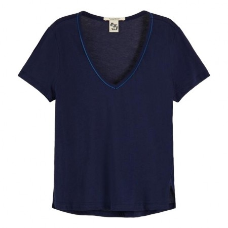 Maison Scotch - V-neck Tee With Piping Detail - Blå