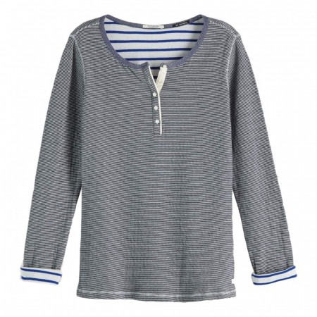 Maison Scotch - Bonded Long Sleeve Grandad - Blå