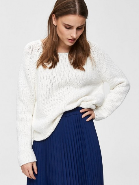 Selected Femme - Slfolga Ls Knit Wide O-neck - Snow White