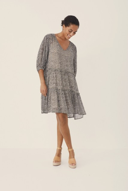 Part Two - Hawra Dress - Blurred Dot, Vetiver