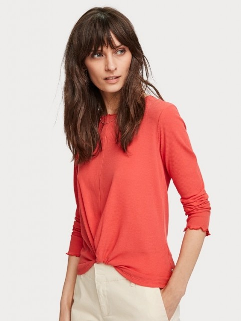 Maison Scotch - Long Sleeve Top With Knot - Rød