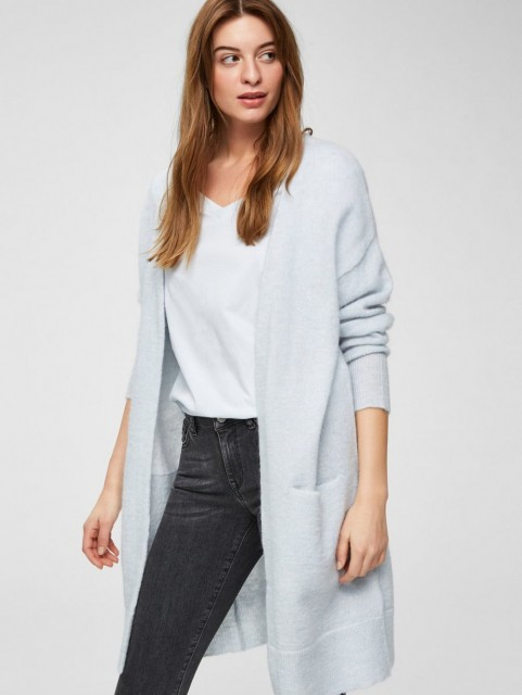 Selected Femme - Slflivana Ls Knit Cuff Cardigan - Plein Air