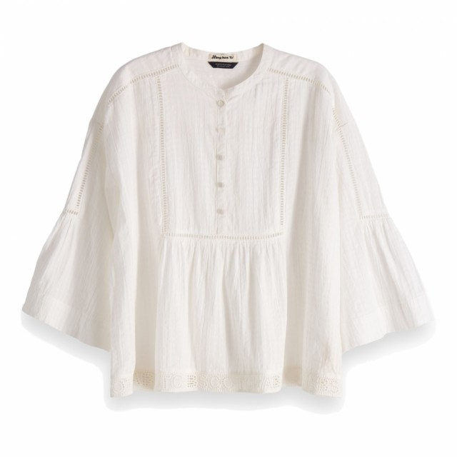 Maison Scotch - Loose Fitted Top With Special Lace-tape Details - Offwhite