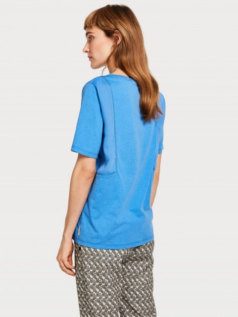 Maison Scotch - Jersey Top With Woven Panels And Ladder Tape
