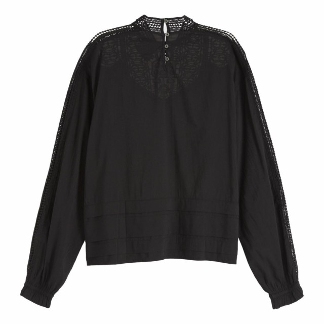 Maison Scotch - Feminine Drapey Top With Special Lace Detailing - Black